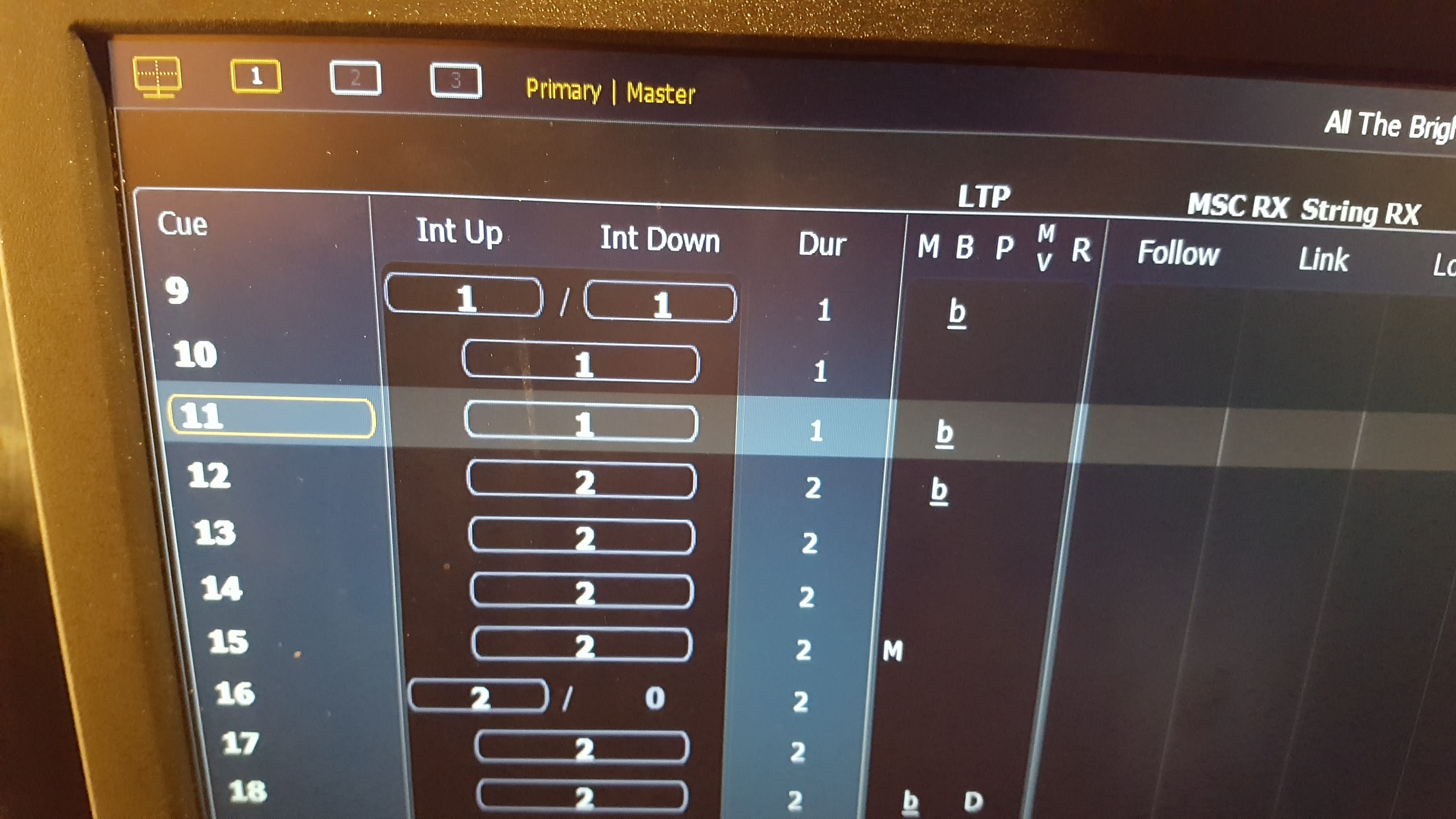 OSC control of cue firing from Show Cue System - Eos Family