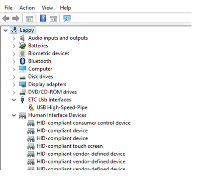Driver for Gadget II does not read in Windows 10 (screencaps